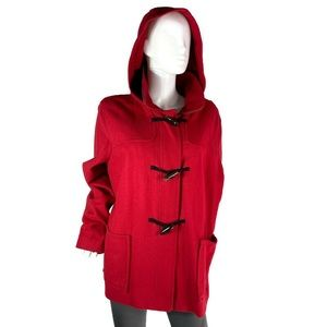 Old Navy Red Wool Classic Toggle Coat W/ Hood